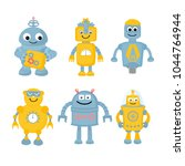 funny robots collection. 6 cute ... | Shutterstock .eps vector #1044764944