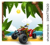 quad bike on a beach. | Shutterstock .eps vector #1044770620