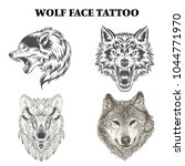 wolf face tattoo design vector | Shutterstock .eps vector #1044771970