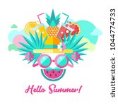 hello summer. vector... | Shutterstock .eps vector #1044774733