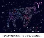 aries zodiac sign and... | Shutterstock .eps vector #1044778288