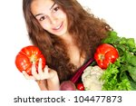 young woman with vegetables...