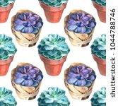 watercolor succulents pattern....   Shutterstock . vector #1044788746