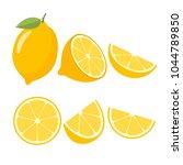 lemons on a white background.... | Shutterstock .eps vector #1044789850