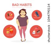 woman bad habits. smoking and... | Shutterstock .eps vector #1044790114