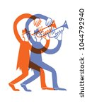 man play on the trumpet | Shutterstock .eps vector #1044792940
