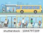 bus stop set. people waiting... | Shutterstock . vector #1044797209