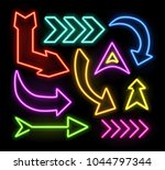 neon glowing arrow pointer set  ... | Shutterstock .eps vector #1044797344