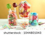 glassware with sprinkles and... | Shutterstock . vector #1044801043