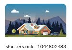 chalet  wooden house  eco house ... | Shutterstock .eps vector #1044802483