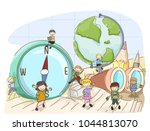 illustration of stickman kids... | Shutterstock .eps vector #1044813070
