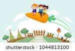 illustration of stickman kids... | Shutterstock .eps vector #1044813100