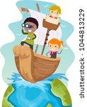 illustration of stickman kids... | Shutterstock .eps vector #1044813229