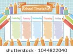school timetable with colored... | Shutterstock .eps vector #1044822040