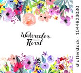 watercolor floral background....   Shutterstock . vector #1044823030