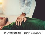 Small photo of First Aid - CPR on Heart Failure Man who has Heart Attack or Senseless , One Part of the Process Resuscitation , Emergency Case Study - Healthcare Concept