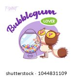 sweet tooth cat. print on t... | Shutterstock .eps vector #1044831109