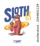 sloth surfer. print on t shirts ... | Shutterstock .eps vector #1044831139