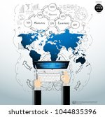 businessman hand and computer  ... | Shutterstock .eps vector #1044835396