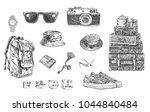 travel set. hand drawn... | Shutterstock .eps vector #1044840484