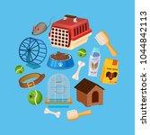 pet shop background in cartoon... | Shutterstock .eps vector #1044842113