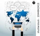 businessman hand and laptop  ... | Shutterstock .eps vector #1044842413