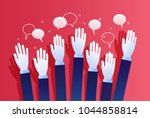 concept of voting. hands raised ... | Shutterstock .eps vector #1044858814