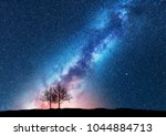 trees against starry sky with... | Shutterstock . vector #1044884713
