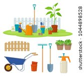 different gardening equipment...   Shutterstock .eps vector #1044898528