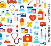 medical icons seamless pattern  ... | Shutterstock .eps vector #1044899338