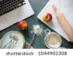 baking recipe from laptop with... | Shutterstock . vector #1044902308