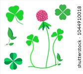 a set of clover leaves  a... | Shutterstock .eps vector #1044910018