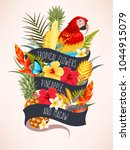 vector card with macaw and... | Shutterstock .eps vector #1044915079