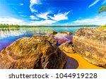 forest river rocks close up | Shutterstock . vector #1044919228