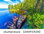 forest river trees shore... | Shutterstock . vector #1044919240