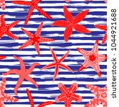 sea stars seamless pattern.... | Shutterstock .eps vector #1044921688