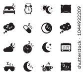 sleep icons. black flat design. ... | Shutterstock .eps vector #1044932209