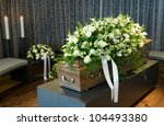 a coffin in a morgue with a...   Shutterstock . vector #104493380