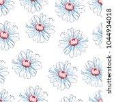 chamomile flower hand drawing... | Shutterstock .eps vector #1044934018