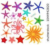sea stars set. multicolored... | Shutterstock .eps vector #1044942820