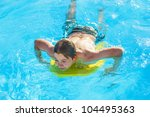 cute boy surfing in the pool | Shutterstock . vector #104495363