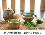 matcha. organic green matcha... | Shutterstock . vector #1044954013