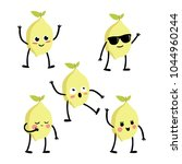 set of cute yellow lemons icons ... | Shutterstock .eps vector #1044960244