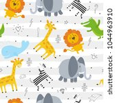 cute hand drawn funny animals.... | Shutterstock .eps vector #1044963910