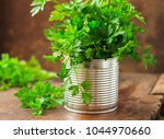 parsley in a can on wooden... | Shutterstock . vector #1044970660