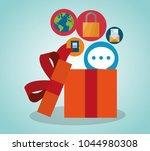 gift box open with multimedia... | Shutterstock .eps vector #1044980308