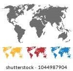 world map black yellow red blue ... | Shutterstock .eps vector #1044987904