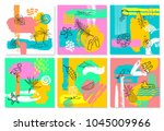 hand drawn abstract quirky... | Shutterstock .eps vector #1045009966