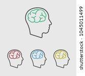 head brain line icon | Shutterstock .eps vector #1045011499