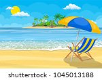 landscape of wooden chaise... | Shutterstock .eps vector #1045013188